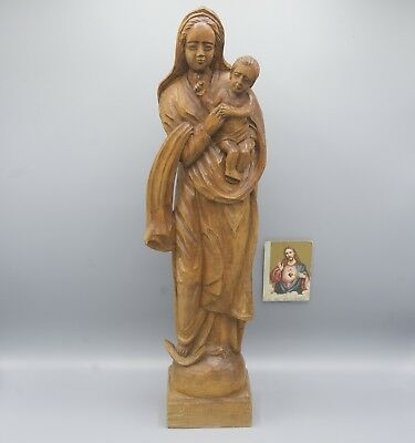 "Large European Hand Carved Wooden Virgin Mary Child Jesus Christ T.19"" Madonna"