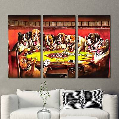 Dog Playing Poker Painting 3PCS HD Canvas Print Home Decor Room Wall Art Picture