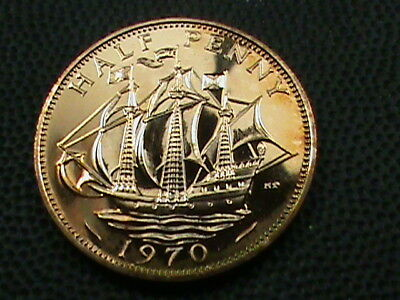 GREAT BRITAIN   1/2 Penny  1970   PROOF   ,   $ 2.99  maximum  shipping  in  USA