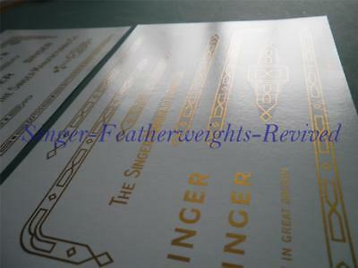 Set Of (5) Singer Featherweight Gold  ***Pre Trimmed*** Decals For  221K - 222 K