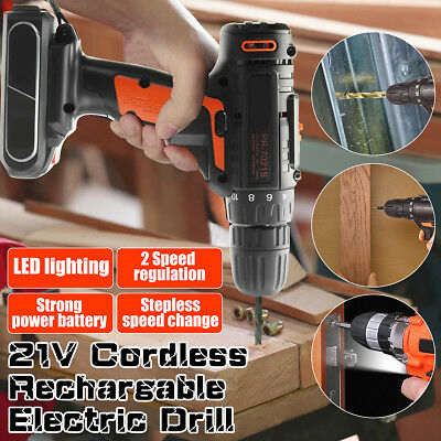 21V 2 Speed LED Electric Cordless Screwdriver Drill Driver + 2x Li-Ion Battery