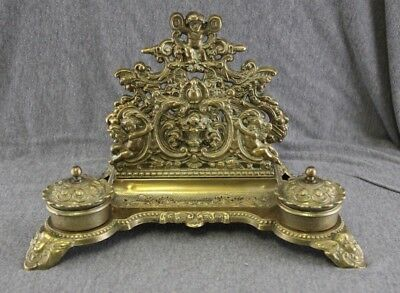 Vintage Antique Solid Brass Ink Well Inkwell Paper Stand Ornate Cherubs --- G1