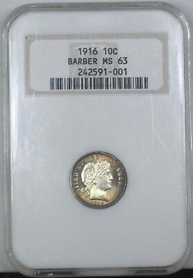 Beautifully Toned 1916 Barber Dime Old NGC MS63