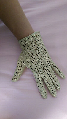 VTG* 1960's* Gant Lauret* crochet and kid leather gloves* cream* size 7.5* Mod*