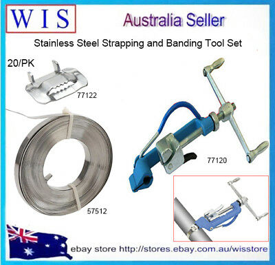 3 in 1 Set Stainless Steel Strapping and Banding Tool Kit,Band,Buckles and Tools