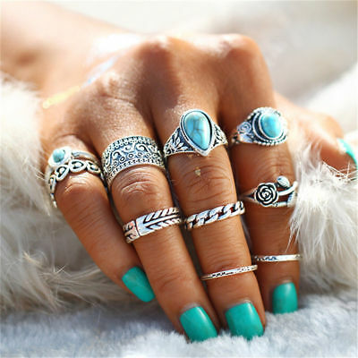 12pcs Silver Boho Turquoise Stack Plain Above Knuckle Ring Midi Finger Rings Set