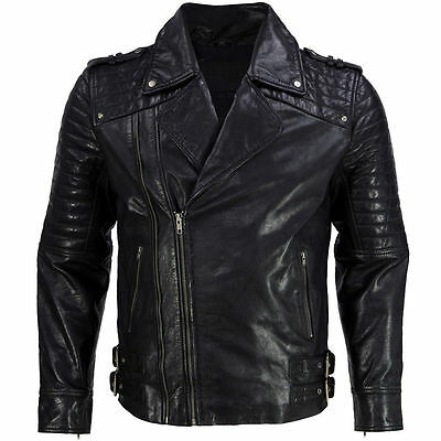 Mens Black Leather Jacket Quilted Biker Motorcycle Size S M L XL XXL Custom Made