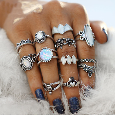 10pcs/lot Vintage Bohemian Crystal Flower Retro Silver Gold Boho Finger Ring Set