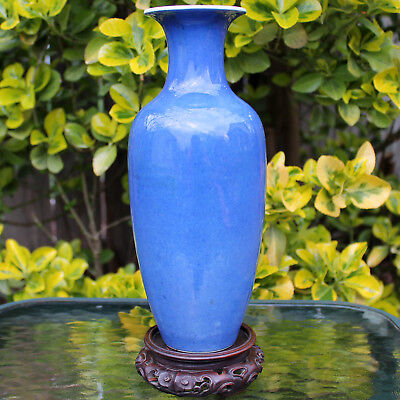 Antique Chinese Qing Kangxi Powder Blue Porcelain Vase 19th Urn Jar + Wood Stand