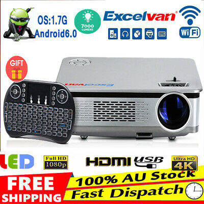 Smart HD Android LED Projector Wifi Video Bluetooth Home Multimedia Cinema HDMI