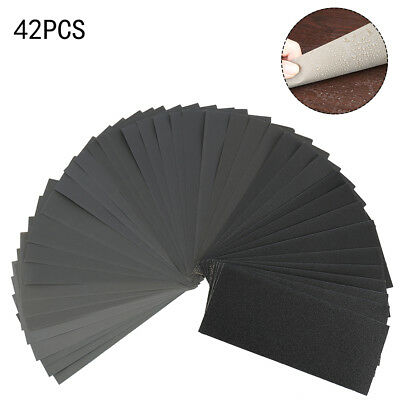 42X Assorted Wet and Dry Waterproof Sandpaper Grit Sheets Sander Paper Sanding
