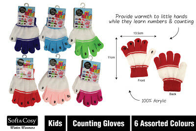 New - Toddler Counting Winter Plush Gloves - Assorted Colours -