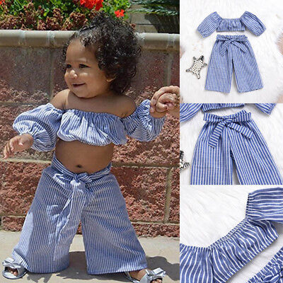 2Pcs Toddler Kids Baby Girls Off Shoulder Striped Tops+Pants Outfits Set Clothes