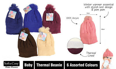 New - Winter Baby Thermal Beanie - Basic - Assorted Colours - One Size