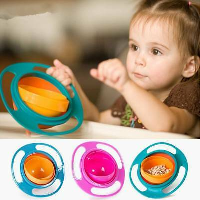 Baby Kids Non-Spill Gyro Feeding Toddler Bowl 360° Rotating Avoid Food Spilling.