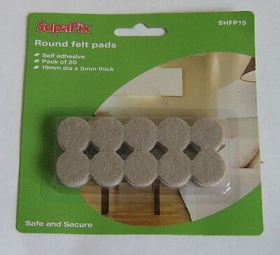 20 Round Furniture Felt Pads Self Adhesive 19mm dia x 5mm thick new