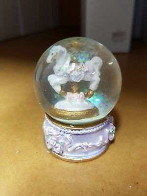 New - Classic Pink Waterball Snowglobe - Horse Carousel - 6Cm