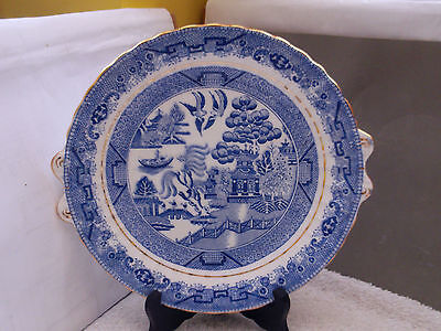 Twin - Handled Bread  Plate In Willow Pattern Possibly 1901 - 21 By Salt & Nixon
