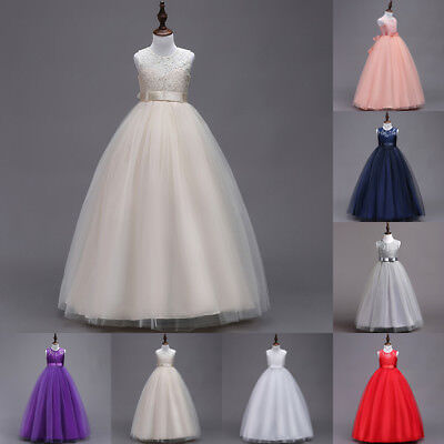 US STOCK LaceFlower Girl Dress Maxi Long Formal Ball Gown for Wedding Bridesmaid