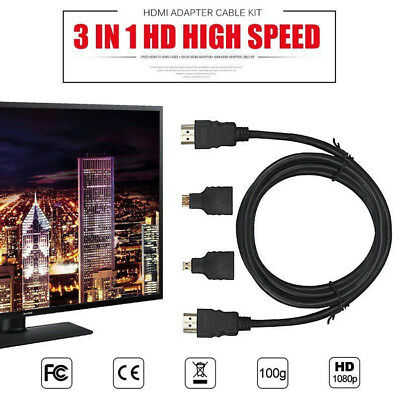 3 in 1 High Speed HDMI HD To HDMI Cable + Micro HDMI Adaptor+ Mini HDMI adapter