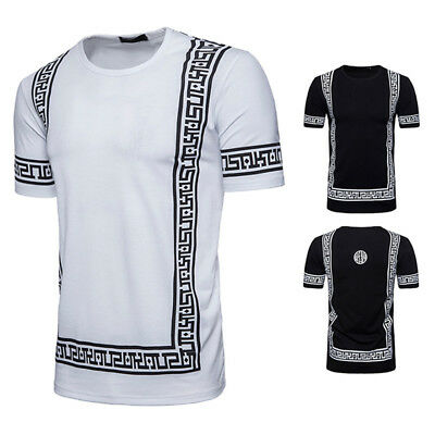 US Men Fashion Retro Style Crew Neck T-shirt Cotton Short Sleeve Casual Tops