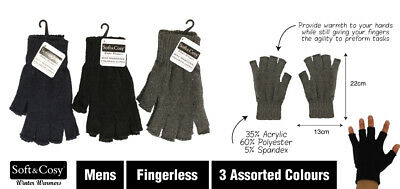 New - Mens Traditional Fingerless Gloves - Black, Grey, Navy - One Size