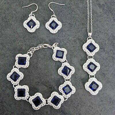 Silver Plated Blue Crystal Drop Necklace Earrings And Bracelet Set