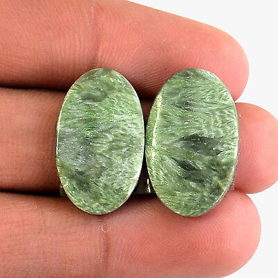 20 Ct Marvelous Matched Pair 2 Pc Natural Seraphinite Cabochon Gemstone A30362