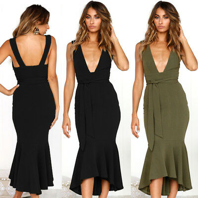 Summer Sexy Women V-Neck Backless Bandage Cocktail Evening Party Bodycon Dress