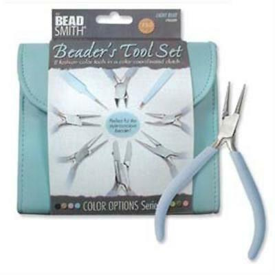 BEADSMITH 8 FASHION-LIGHT BLUE TOOL SET for MAKING JEWELRY with COORDINATED CLUT