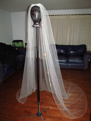 white/ lvory 1 Tier Cathedral Wedding Veils Crystal Cut Edge Bridal Veil+comb