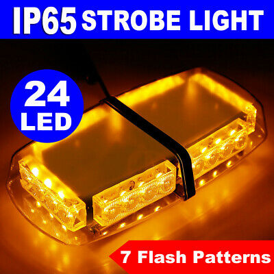 AMBER 24 LED  RECOVERY STROBE FLASH EMERGENCY BAR MAGNETIC BEACON LAMP 12V SCRAP