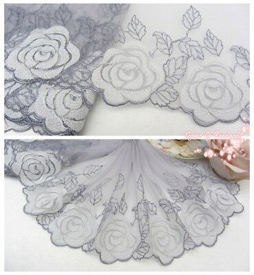 "7""*1Y Embroidered Tulle Lace Trim~Gray+White~Enchanting Beauty~Sewing/Costume~"
