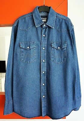 c8072fea01 WRANGLER Men s Long Sleeve Pearl Snap Western Dark Blue Denim Jean Shirt  size L