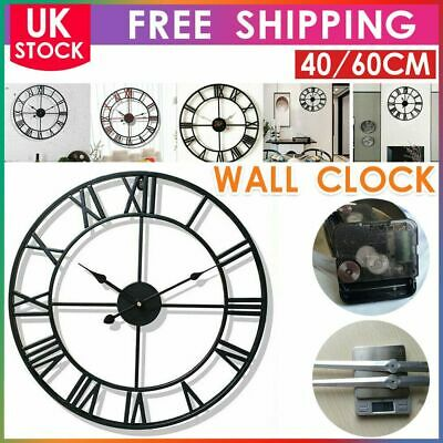 60Cm Extra Large Roman Numerals Skeleton Wall Clock Big Giant Open Face Round Me