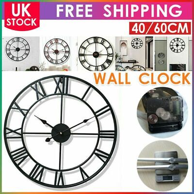 Skeleton Garden Wall Clock Big Roman Numerals Large Open Face Metal40/60CM Round