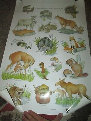 VINTAGE Smokey the Bear Please Be Careful With The Future Animals Poster