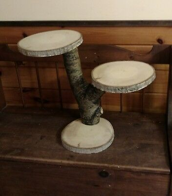 3 Tiered Rustic Wood Wedding Cake Cupcake Stand Log Cabin