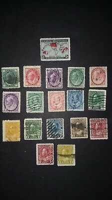 "Nice Selection (1800's early 1900""s) of Old Used Canadian Stamps"