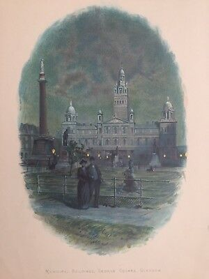 1890 Antique Print; George Square and Glasgow City Chambers after Wilkinson