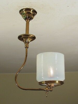 RESTORED! Antique 1890s Gas Light Fixture with Large Opalescent Swirl Shade