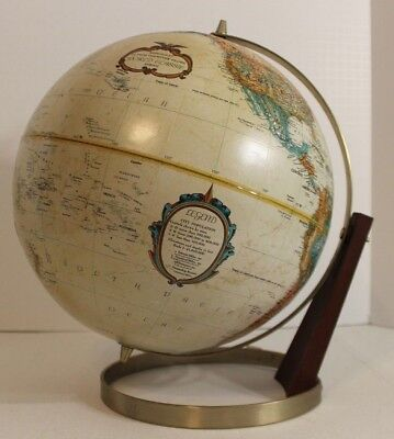 "Vintage Replogle 12"" World Globe World Classics Series Raised Relief Dual Axis"