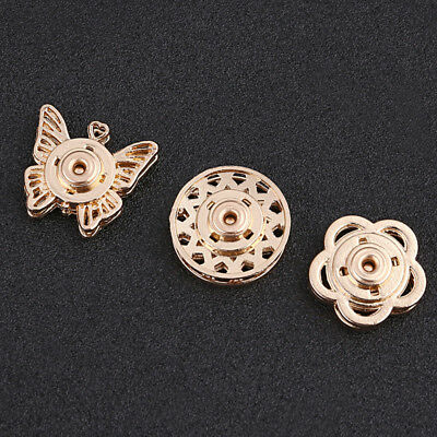 10pcs Butterfly Flower Snap Buttons Accessories Round Metal Designs Snapper DIY