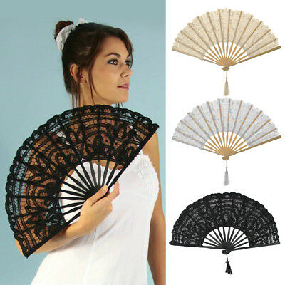 2018 Handmade Cotton Lace Folding Hand Fan for Party Bridal Wedding Decor