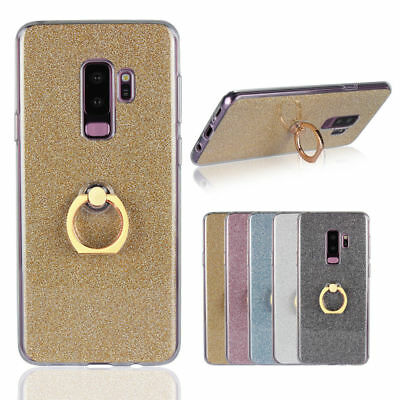 Case for Samsung Note 8 S8 S9 Bling Slim Soft TPU Back With Ring Stand Cover