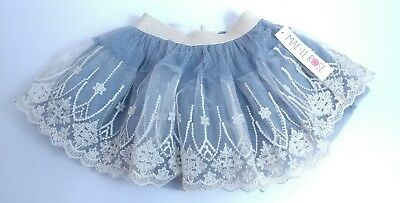 NWT Mae Li Rose Girls' Blue Gold Glitter Tulle Skirt ~ Size 4/5 dress 1