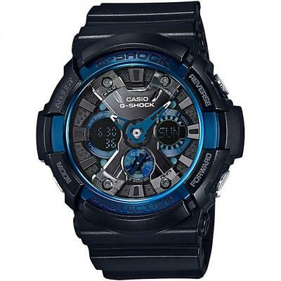 Casio GA200CB-1A Men's G-Shock World Time Black Resin Strap Ana-Digi Black Watch