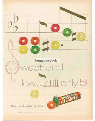 1955 LIFE SAVERS Five Flavors Candy Music Staff Notes Song art Vtg Print Ad