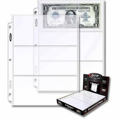 BCW 3-Pocket Currency And Coupon Size Binder Pages, 100-Count Box