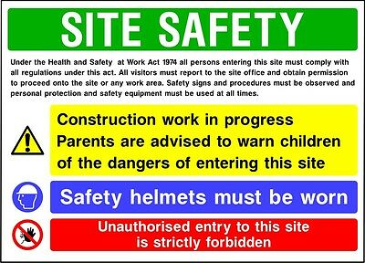 Construction Site Safety Signs - 400x300mm / 600x400mm - 4mm Correx